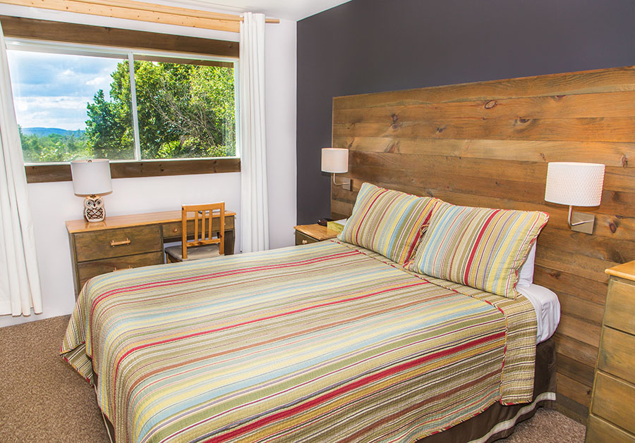 Queen room: same size as the regular room, but with a queen size bed, decorated with a chic rustic theme.
