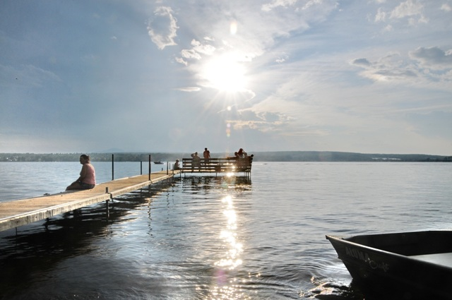 Camping Lac Magog: Dock on the little Lac Magog