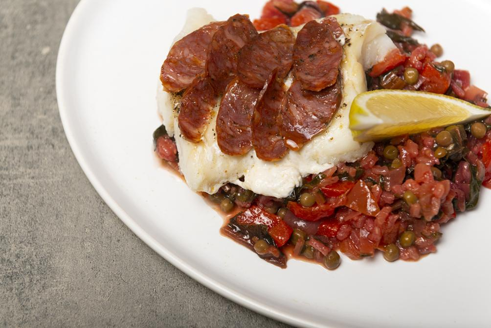 Cod and vegan paella: We always have a vegetarian dish on the menu